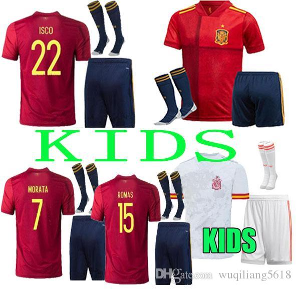 2020 Kids Kit Spanien Fussball Jersey. 20 21 Home Away Camiseta de Fútbol Sergio A.Inasta Ramos Isco National Team Football Uniformen Hemden