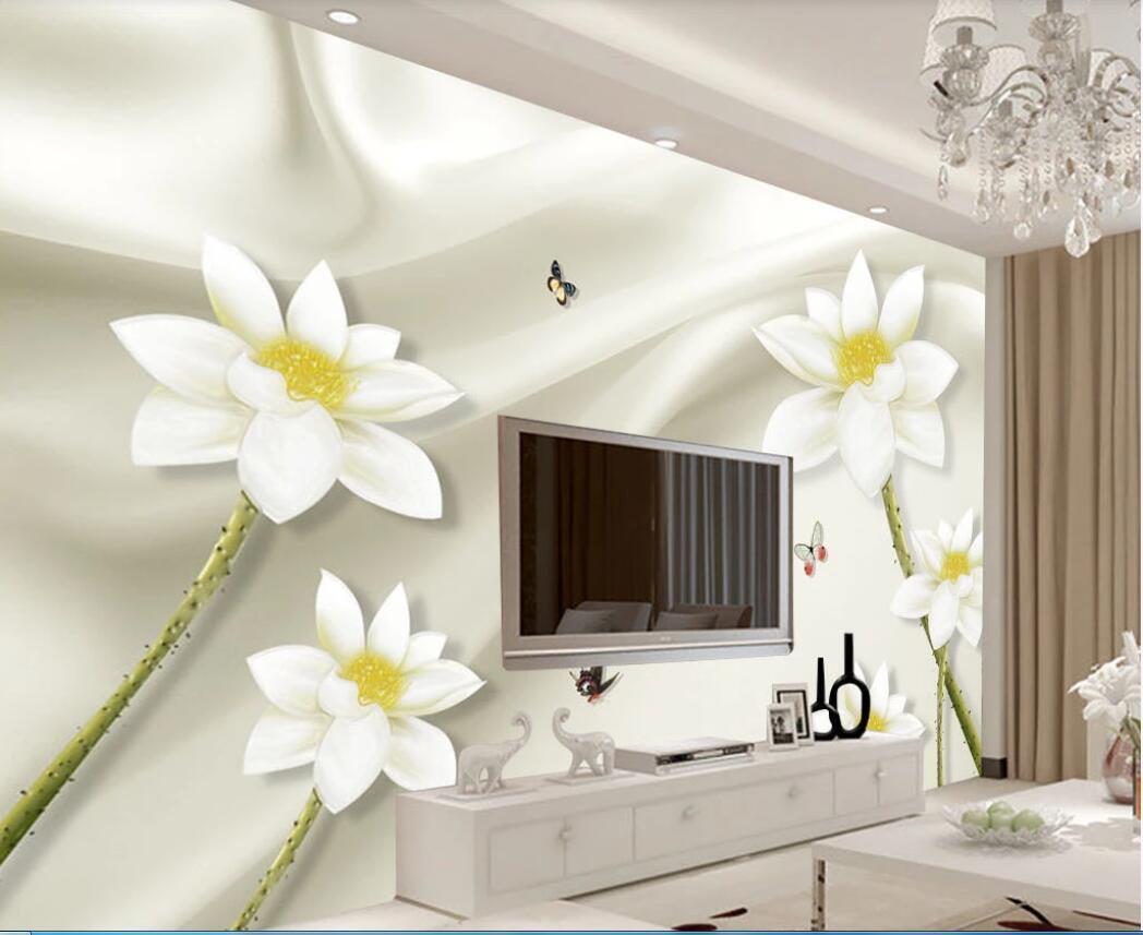 3D خلفية الجداريات صورة مخصصة المعاصرة والتعاقد الحرير رواج اللوتس يجلس الصور الفن غرفة TV وضع جدار ديكور الجدار