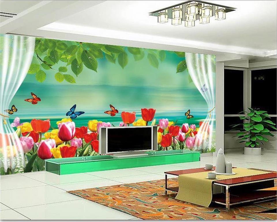 custom size 3d photo wallpaper living room 3d wall mural romantic dreamy tulip window picture sofa TV backdrop wallpaper non-woven sticker