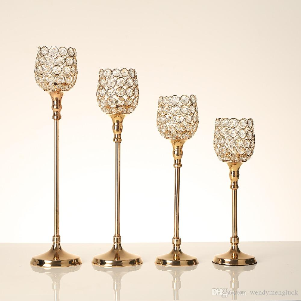 Gold Crystal Tealight Metal Candlesticks Pillar Holders Candle Lantern Birthday Gift Wedding Table Home Party Centerpieces Home Decoration