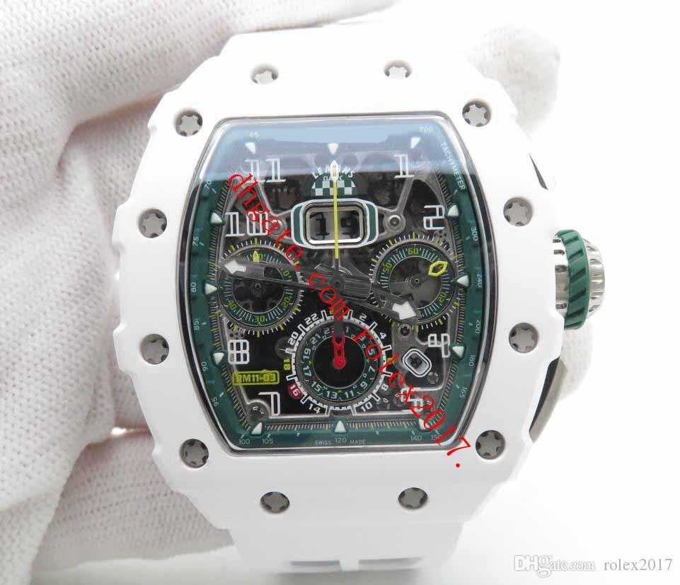 Erkek Basel Dünya KV Fabrikası RM011-03 Otomatik Flyback Chronograph Le Mans Sürümü Tam Beyaz Seramik Bezel Erkekler Spor saatı