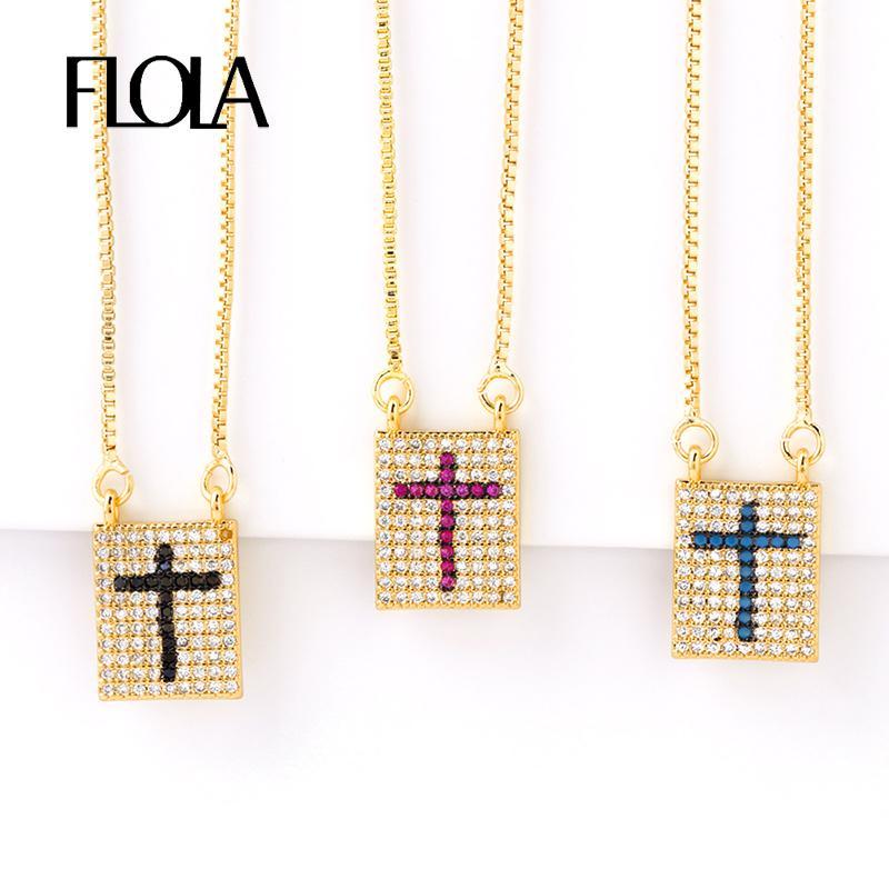 FLOLA الذهب الصليب قلادة المرأة مكعب زركونيا سلسلة جودة عالية قلادة طويلة الذهب والمجوهرات قلادة الصليب nkep24