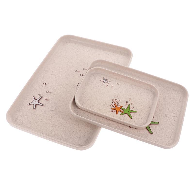 3 шт./компл. пшеничная солома фруктовая тарелка мода закуски лоток для хранения чайная доска хлеб торт лоток для домашнего отеля (бежевый, случайный узор)