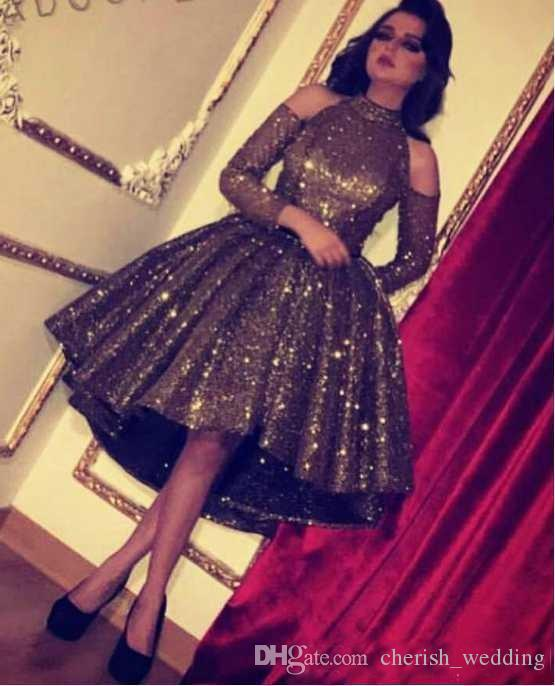 2019 Bling Bling Chocolate Sequin Crystal Ball Gown Short Prom Homecoming Dresses High Low High Neck Long Sleeve Cocktail Evening Gown