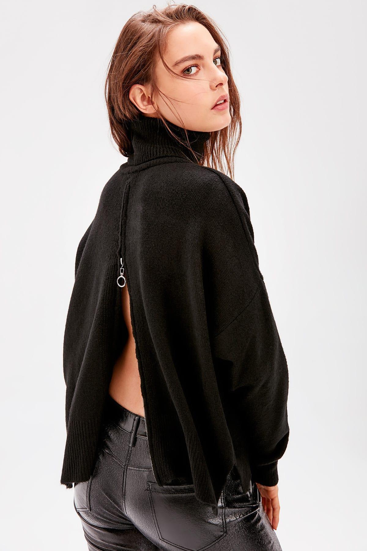 Fashion-Черная задняя молния свитер Женщины водолазку Осень Пуловеры