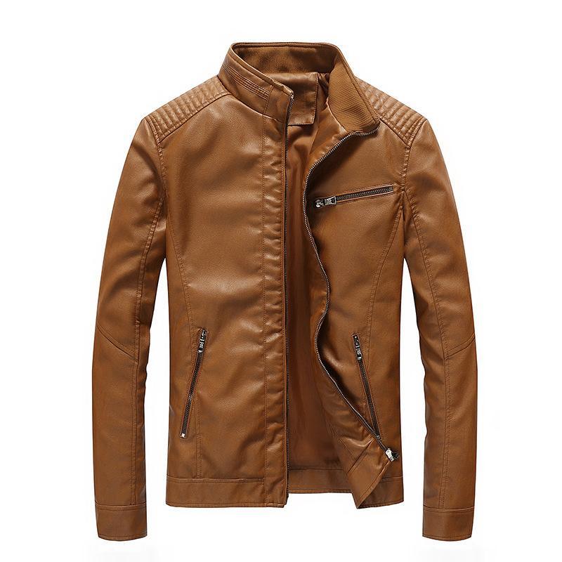 UOMO abbigliamento in pelle PU New Style primavera e in autunno degli uomini del rivestimento di lavaggio cappotto di cuoio sottile Locomotive