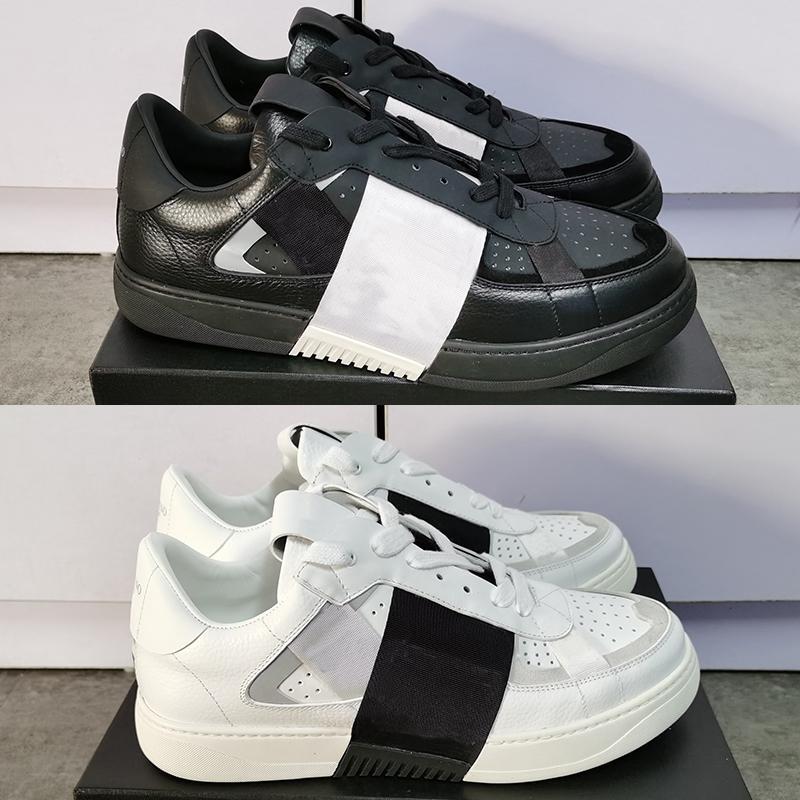 Para mujer para hombre de piel de becerro VL7N Plataforma zapatilla de deporte de gran tamaño plana reflectante Trainer Negro Blanco real zapatos ocasionales del cuero con la caja