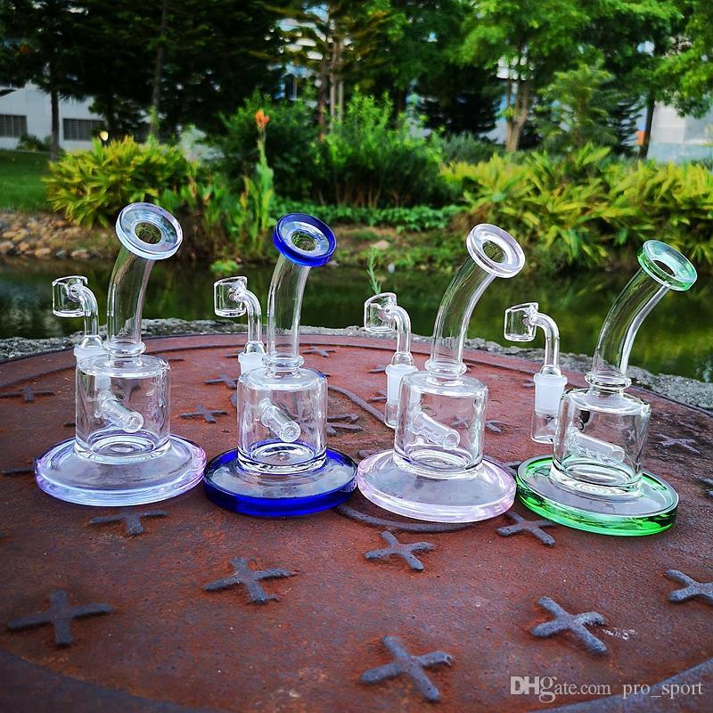Nouveaux crochets de 6 pouces Huile Mini Huile DAB Plateaux Inline Perc 5mm Epais Verre BONG 14MM Femme Joint Bongs Tuyau d'eau avec 4mm Banger de quartz