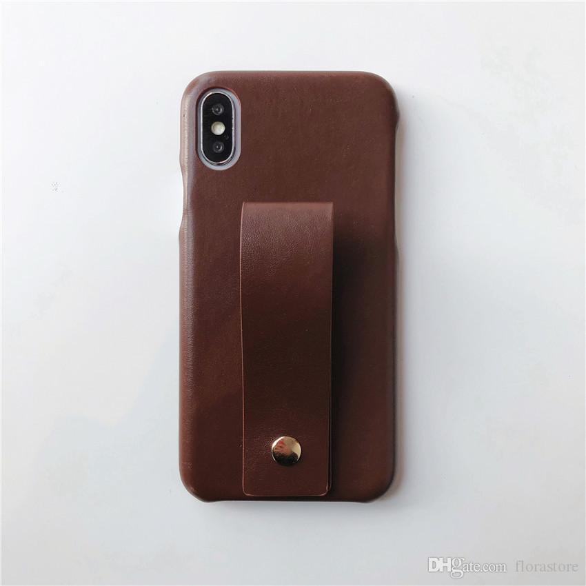 PU couro clipe Hoder Telefone Covers Pulseira Moda Couro Armadura Voltar Telefone Shell para o iPhone 7 8plus XR X MAX