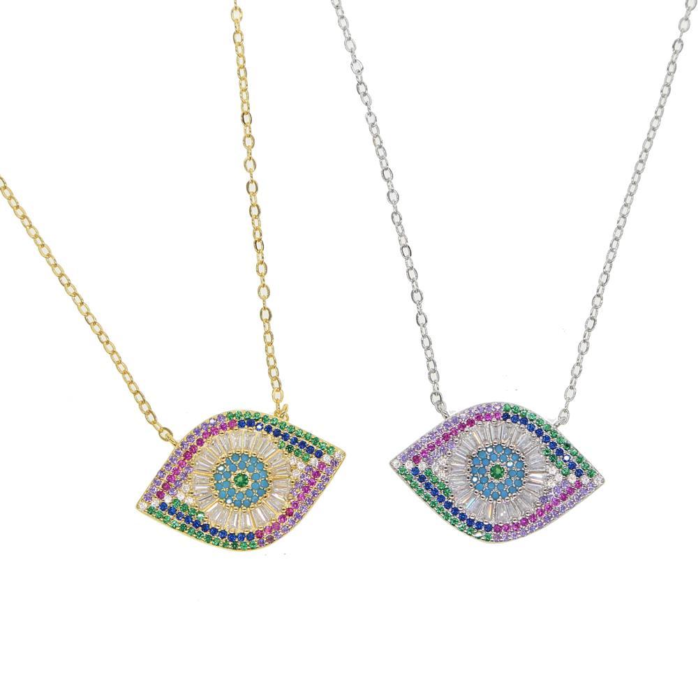 Золото серебра ожерелья цвета глаз проложили великолепно зло красочных CZ для женщин леди удачливых ювелирных изделий глаз