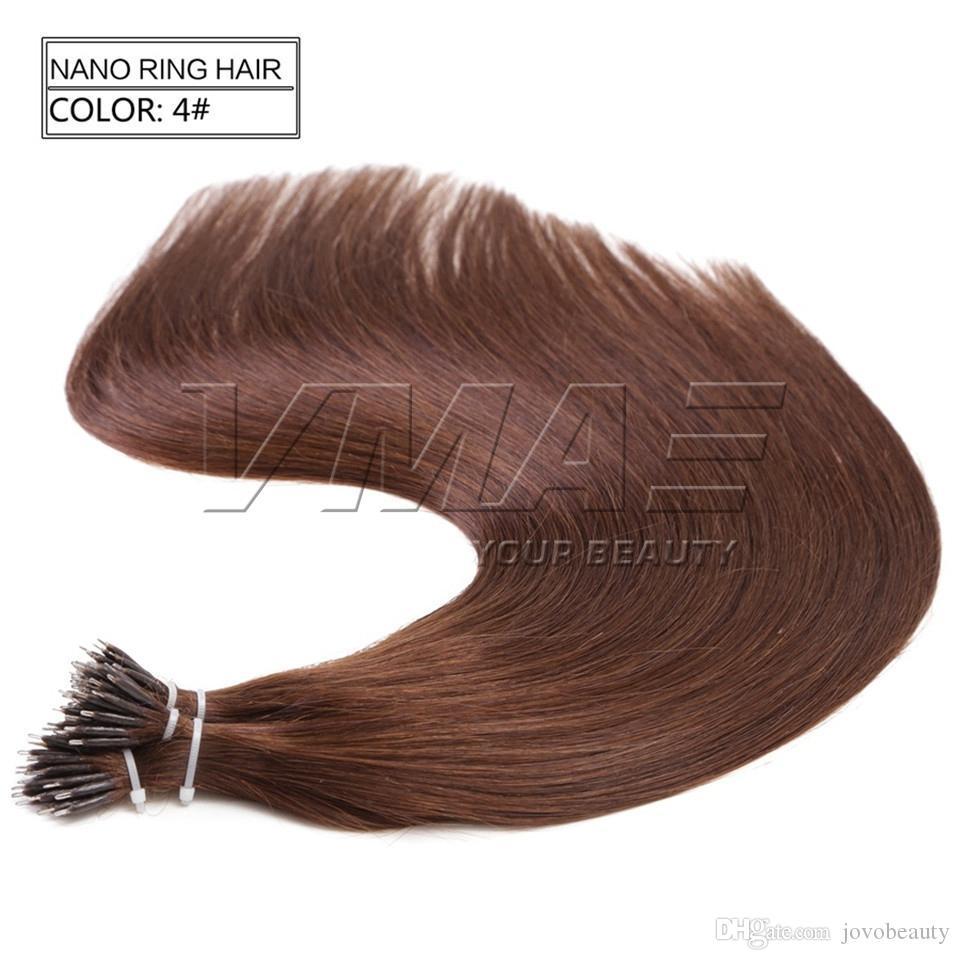 """مستقيم نانو حلقة الشعر ملحقات الإنسان 1G / 100G حبلا 16 """"إلى 26"""" ضعف الانتباه الشعر أعلى جودة الإنسان جميع ألوان الشعر VMAE"""