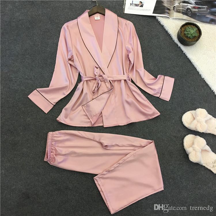 Delle donne Sleepwear Satin Sexy Accappatoio Donne Pigiama Set Summer Lace Nightgown Pijama Feminino Pigiama