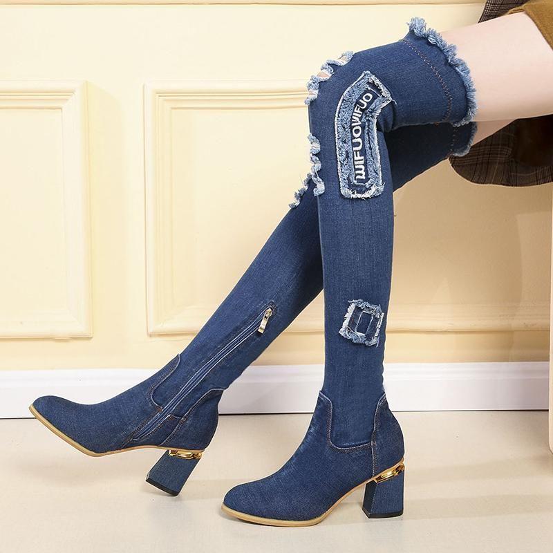 Lucyever mujer Denim Botas sobre la rodilla del dedo del pie en punta gruesa de los altos talones Mujer Ocasional Borla Cut Out Jeans largo Botas Mujer