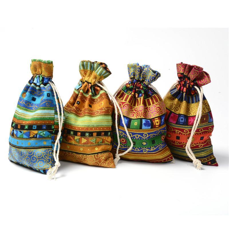 العرقية نمط الرباط هدايا حقائب متعدد الألوان القبيلة القطن الكتان حقيبة الحلوى الصغيرة الحقائب والمجوهرات الزفاف عيد الميلاد حزب الحسنات الحقائب