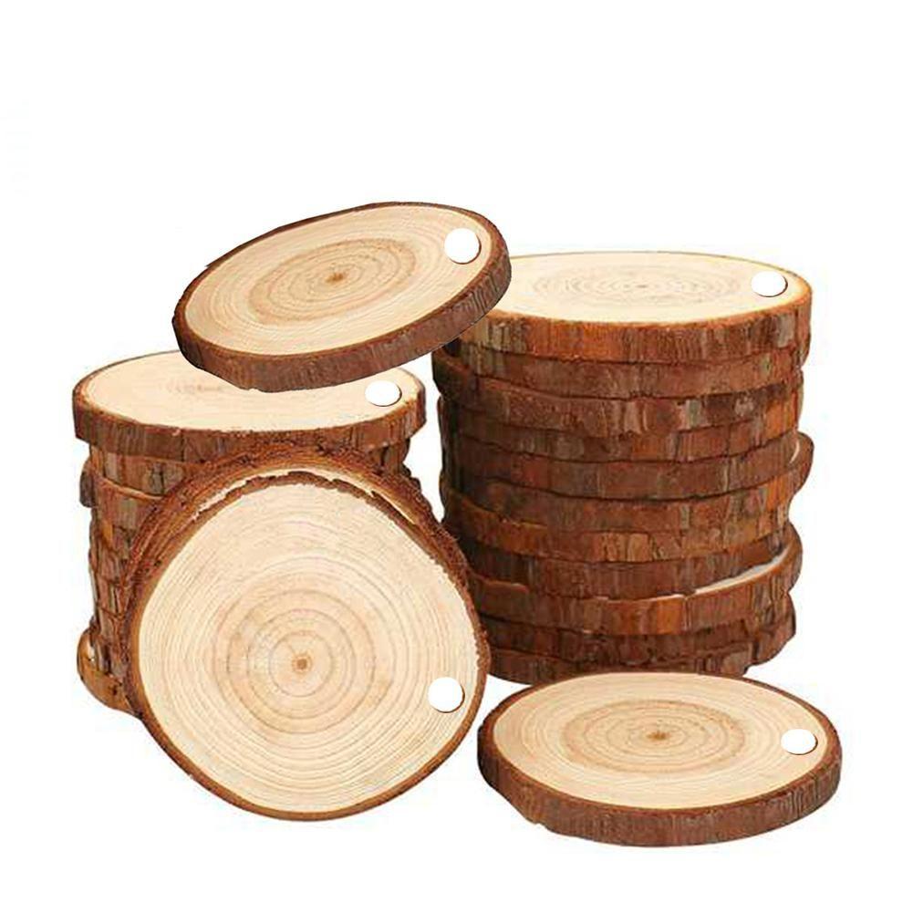 10x Hanging Wood Stump Slice Christmas Tree Ornament with Rope Craft Decor set