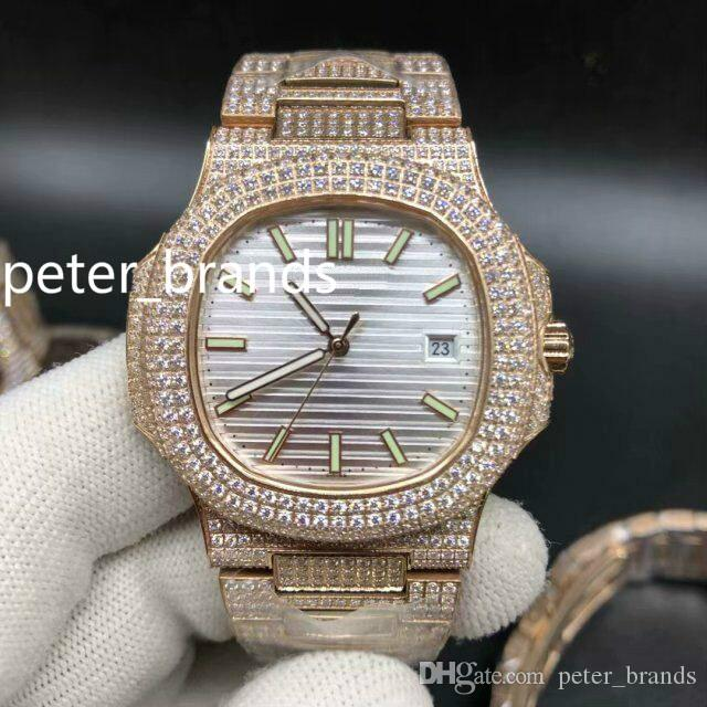 Full iced diamond watch 40mm night light rose gold case diamond band 4 color face fashion shiny diamonds watches automatic men watches