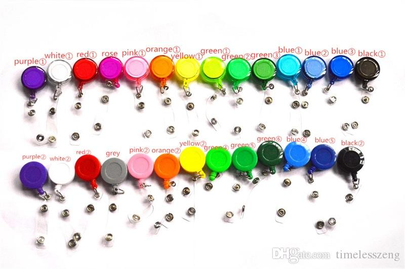 27 colores Badge Reel Retráctil pase de esquí Tarjeta de identificación Badge Holder Llavero Carretes Anti-Perdida Clip Material escolar de oficina