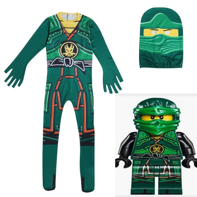 Green Cosplay Costume Boys Jumpsuits Children Halloween Christmas Fancy Party Clothes Ninja Costume Streetwear Suits