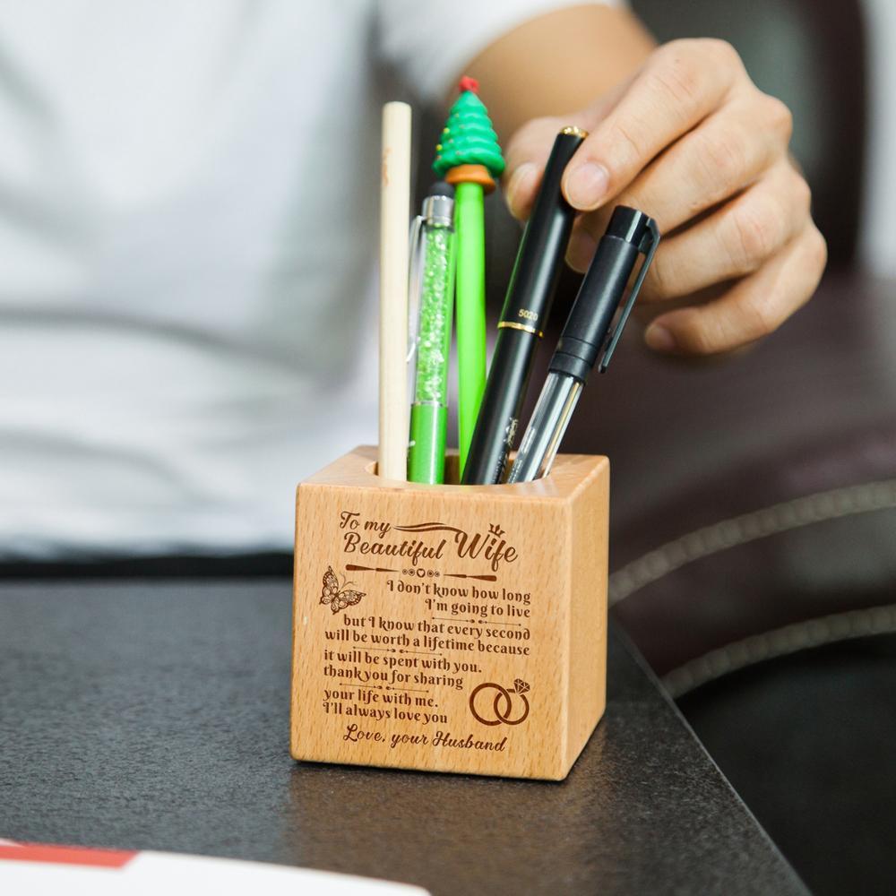 A mi esposa hija grabado multifunción creativo madera hecho escritorio papelería organizador pluma lápiz titular caja de almacenamiento