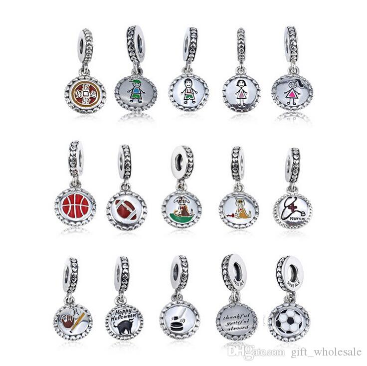 Family Collection 925 Sterling Silver Stick Figure Charms include Mom Boy Girl Dog and Cat Fit European Style Bracelets & Necklace