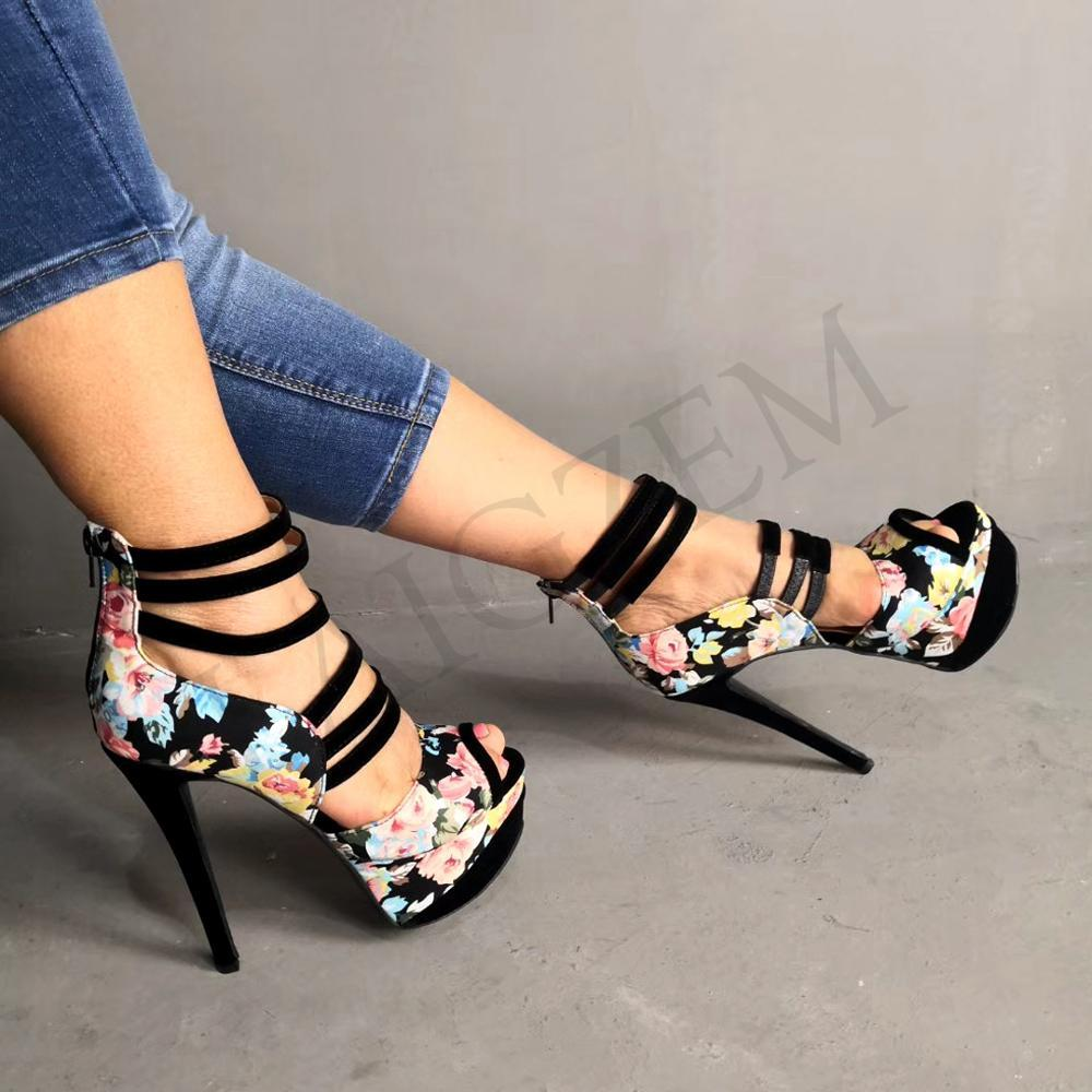 LAIGZEM Женские сандалии с ремешком на щиколотке Босоножки на каблуке с ремешком из искусственной замши Летние женские туфли женские Большой размер 34-52
