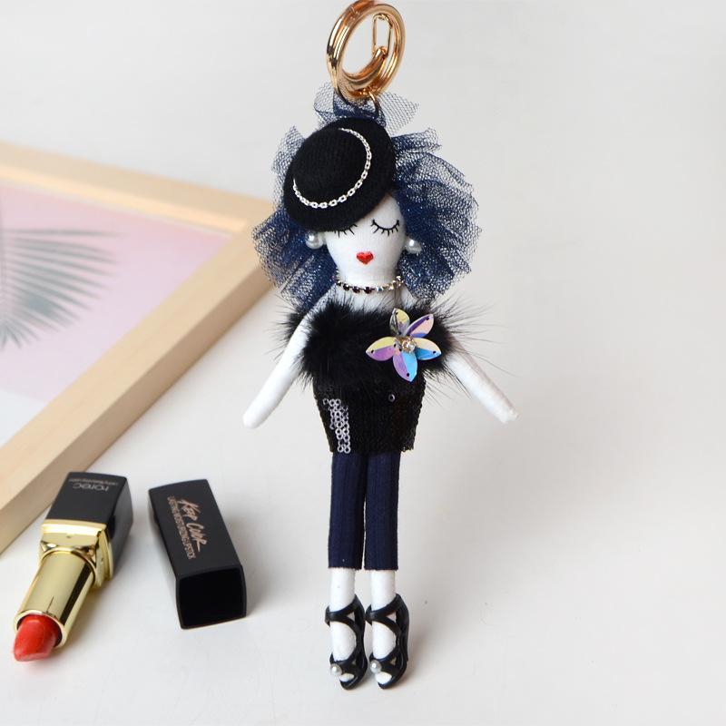 Yeni Doll bayan şirin Kadınlar Araba kolye Kızlar El yapımı Bildirimi moda Takı Çantası anahtar zincirleri sıcak anahtarlık Anahtarlık