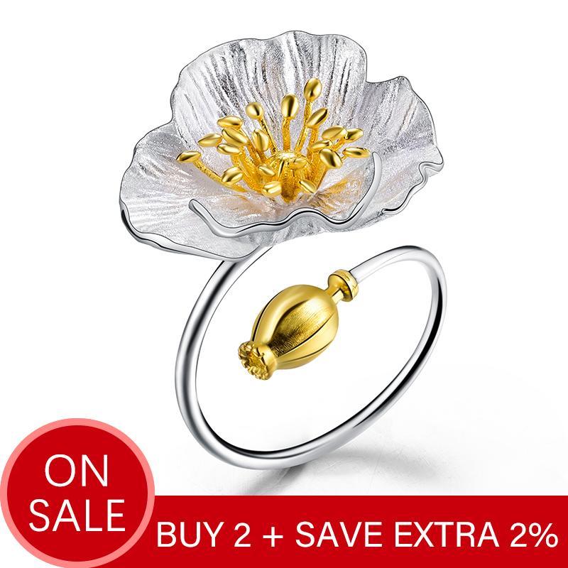 Lotus Fun Real 925 Sterling Silver Adjustable Ring Handmade Designer Fine Jewelry Blooming Poppies Flower Rings for Women Bijoux Y200321