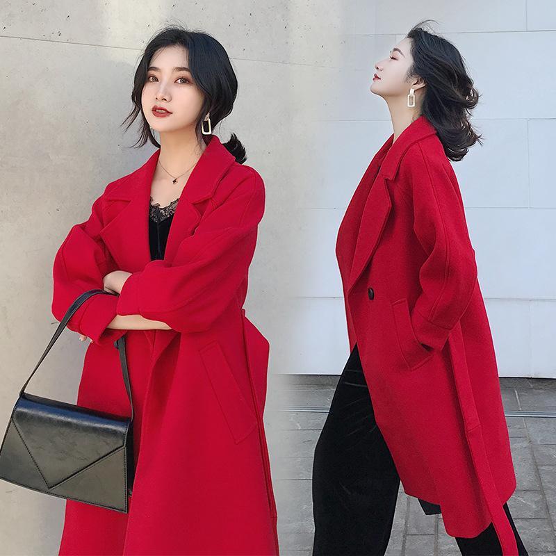 Chaquetas de invierno para mujer Abrigos Cinturón medio largo Mezclas de lana Abrigo Cuello vuelto Bolsillos de color liso Parka Tallas grandes