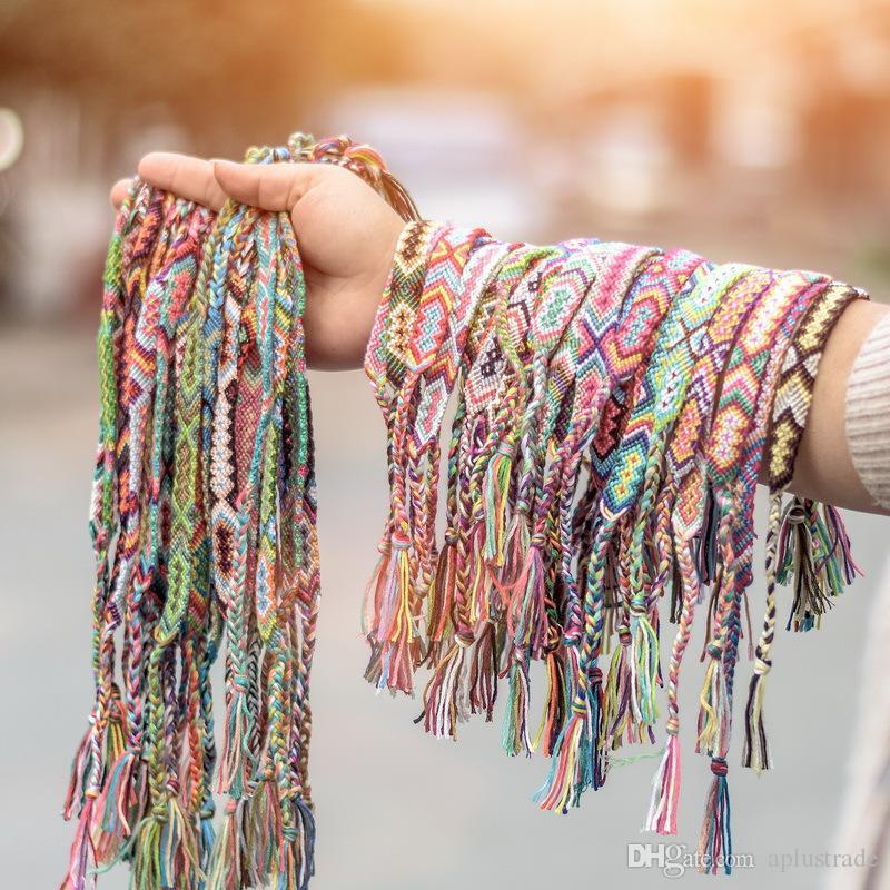 اليد التي قدمت نيبال محظوظ سوار مع متعددة الأنماط أساور الصداقة القطن الطبيعي قوس قزح سوار سفينة الحرة