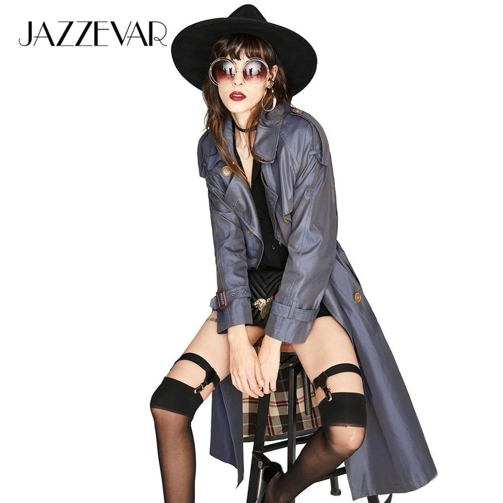 JAZZEVAR 2019 Новый высокой моды женщин Водонепроницаемый хлопок Длинные двубортные Вестминстерское Heritage пальто шанца верхнего качества CJ191212