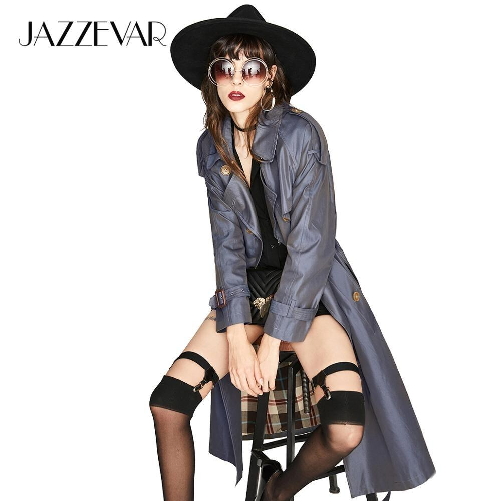JAZZEVAR 2019 New High Fashion Women's Waterproof Cotton Long Double-breasted The Westminster Heritage Trench Coat Top Quality CJ191212