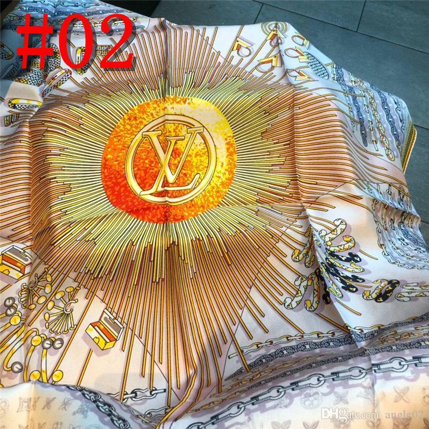 19ss nome del marchio in twill di seta sciarpa di grandi dimensioni donne di modo di lettere modello in raso Piazza Scarve ladys design Fazzoletto Bandana