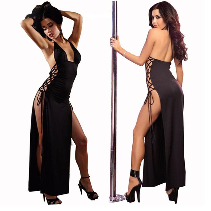 Femmes Lingerie Sexy Chaud Pole Dance Halter Babydoll Robe Longue Langerie Sous-Vêtements Sexy Erotic Lenceria Costumes Cosplay Sexy D18120802