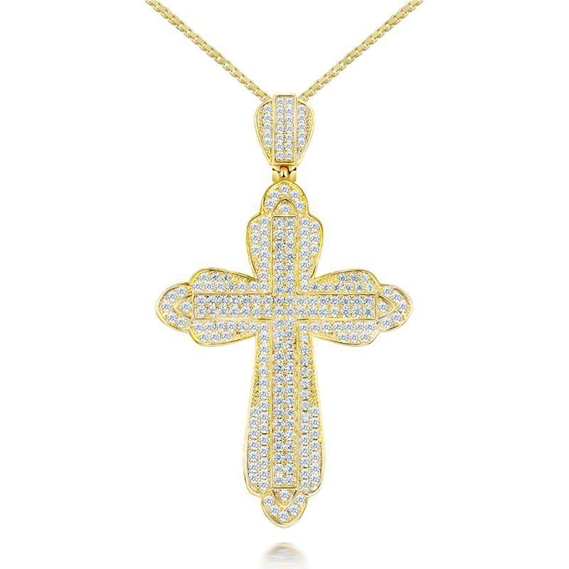 Ожерелье Для Женщин Стерлингового Серебра S925 Крест Классический Иисус Педанты Цирконий Diamant Изящных Ювелирных Изделий Свадебный Ошейник