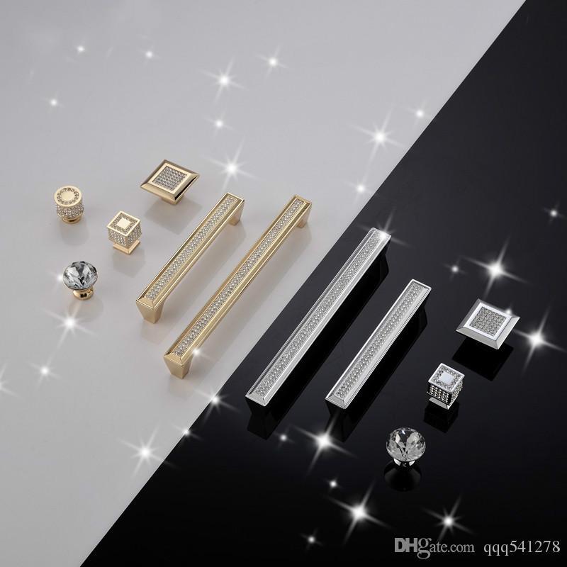 Хромирование Золотая ромбовидная форма Кристаллическое стекло Ящик для шкафа Ручки и ручки для ручек Кухонные дверные ручки Комплектующие