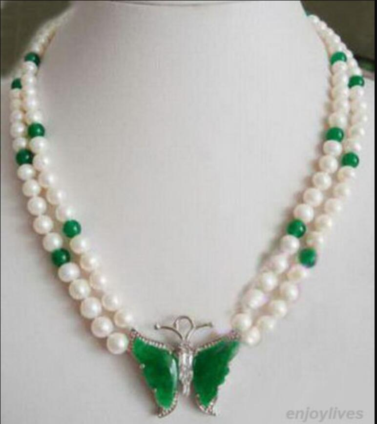 necklace Hot sale new Style >>>>>2 Rows Genuine White Pearl Greenrystal Butterfly Pendant Necklace