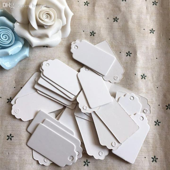 Wholesale-700pcs Paper Gift Tags Card White Scallop Festival Wedding Decoration Blank Mini Luggage Label 2*4cm