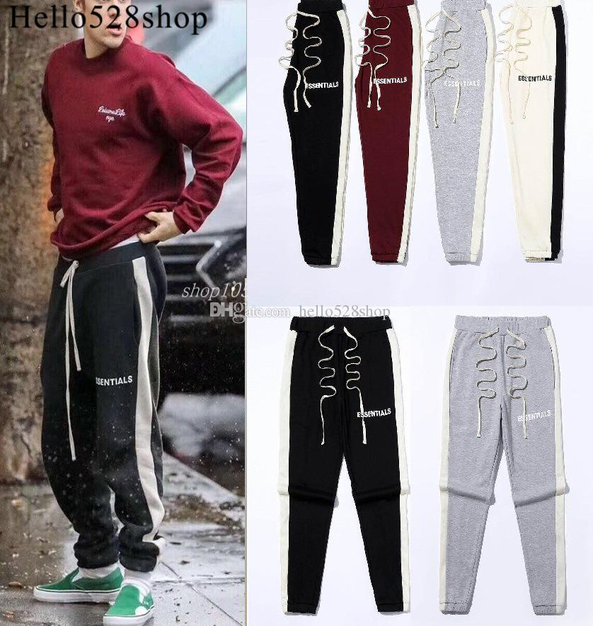 Hello528shop Bieber Style Essentials Printed Beam Foot Drawstring Elastic Waist Casual Pants Jogging Bottoms for Men Boys