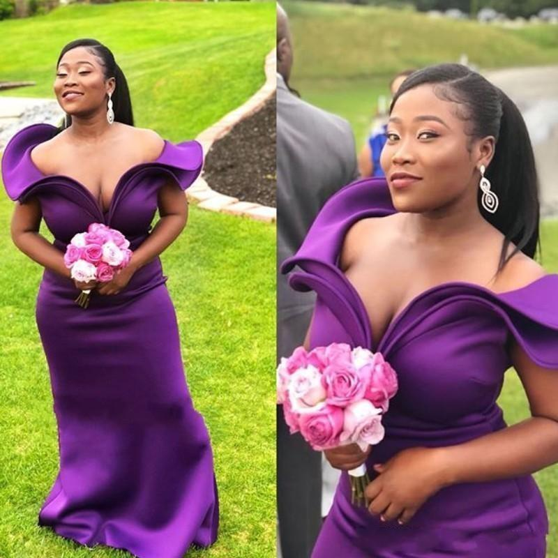 African New Cheap Purple Off the Shoulder Mermaid Bridesmaid Dresses Ruffles Sweep Train Wedding Guest Gowns Maid Of Honor Dress Plus Size