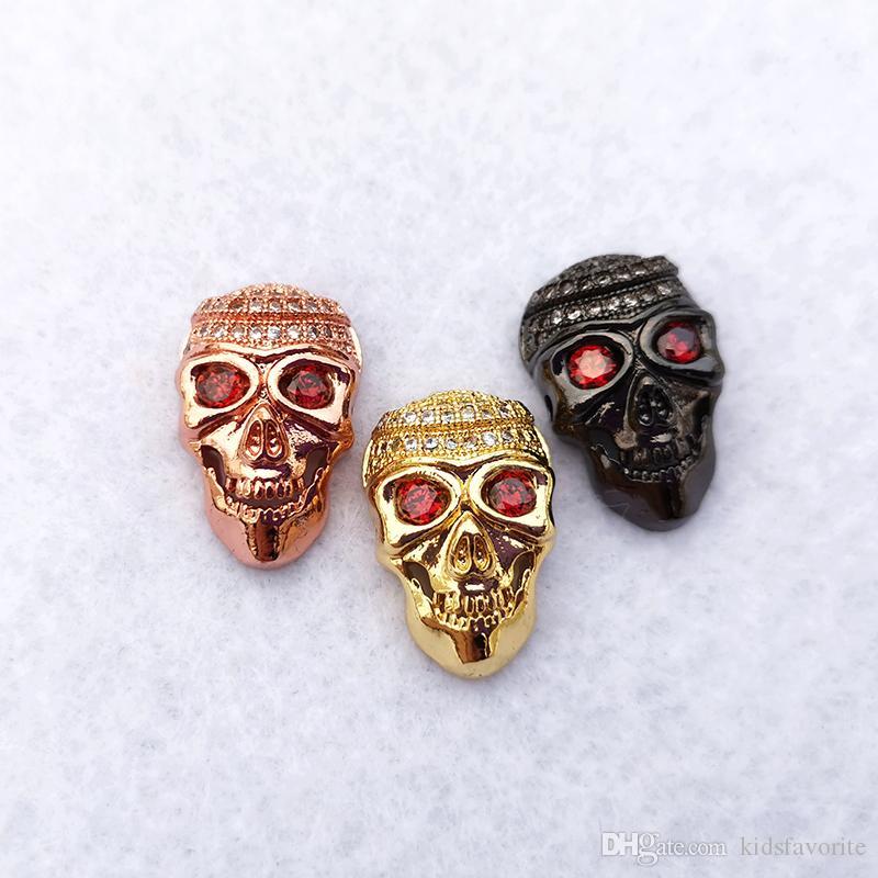Copper Skull Head CZ Pave Charm connecteur DIY Rafraîchissez Punk Skeleton Perles Fit Bracelet Collier Bijoux Trouver CT468