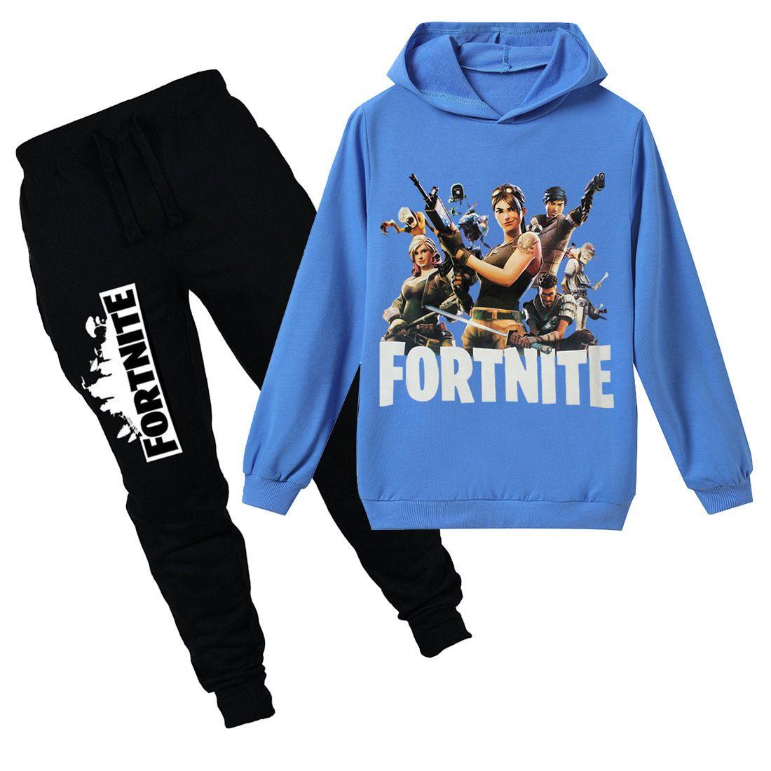 Teenmiro juego Battle Royale ropa fijada Los niños con capucha para niños Pantalones Spring Girl Sport Wear Ropa Niños Fortnite chándal Causal