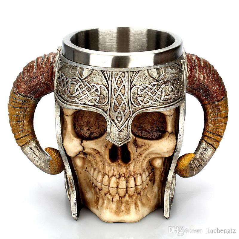 Taza del cráneo de Viking de cuernos del espolón Pit Señor Guerrero de acero inoxidable cerveza cabra Cuerno de resina jarra de cerveza taza de café de Halloween Bar regalo de la taza de té