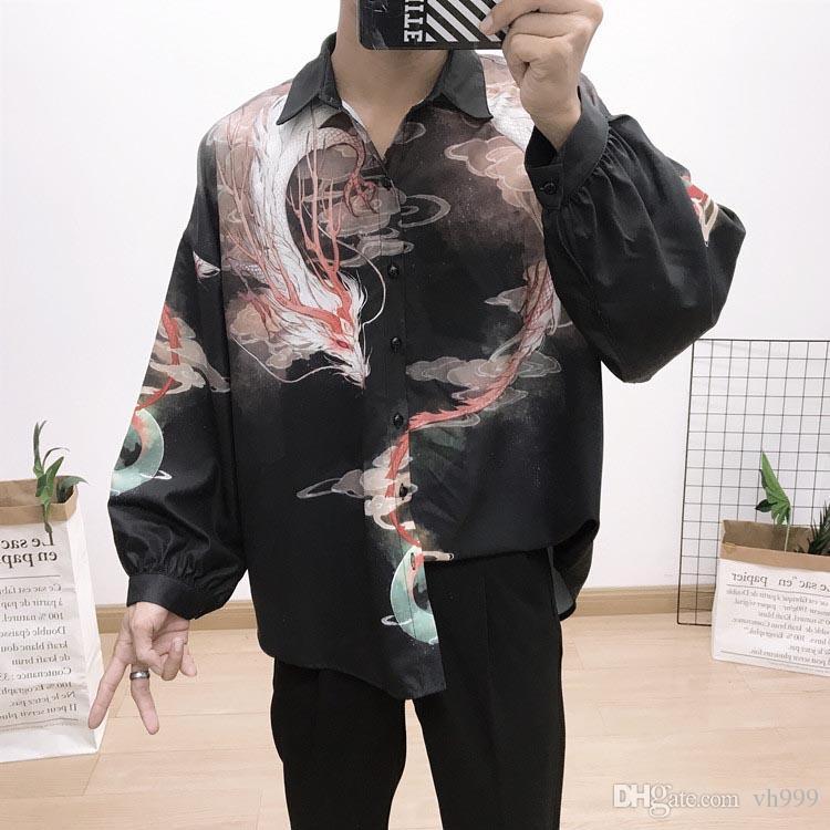 2019 Brand New italiani classici della moda maschile di lusso Camicie Moda Harajuku camicia casuale degli uomini di lusso Medusa Black Gold Fancy 3D Print