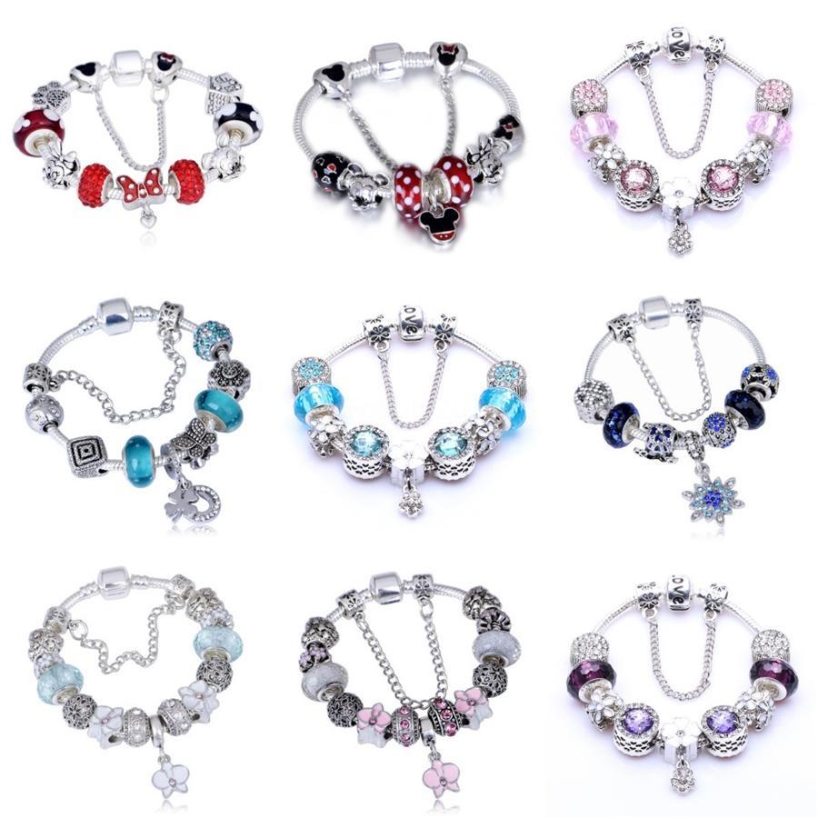 2020 La nouvelle conception pourpre de la Couronne Perles Fit Charm Bracelet Pan Avec Cristal femmes en alliage bijoux bri Pulseras Mujer B122 # 248
