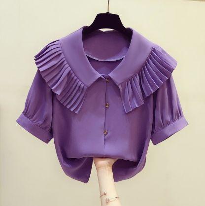 2020 Yaz Yeni Moda Pileli Ruffled Doll Yaka Tek Breasted Kısa Kollu Şifon Gömlek Bayan Casual Bluz blusas