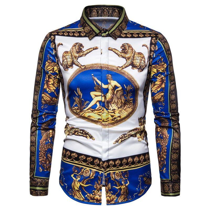 Inoltre barocco Reale da uomo a maniche lunghe Four Season Camicia Partito Club Men Slim Dimensioni 6XL Vintage Oro Blu banchetti Chemise Homme