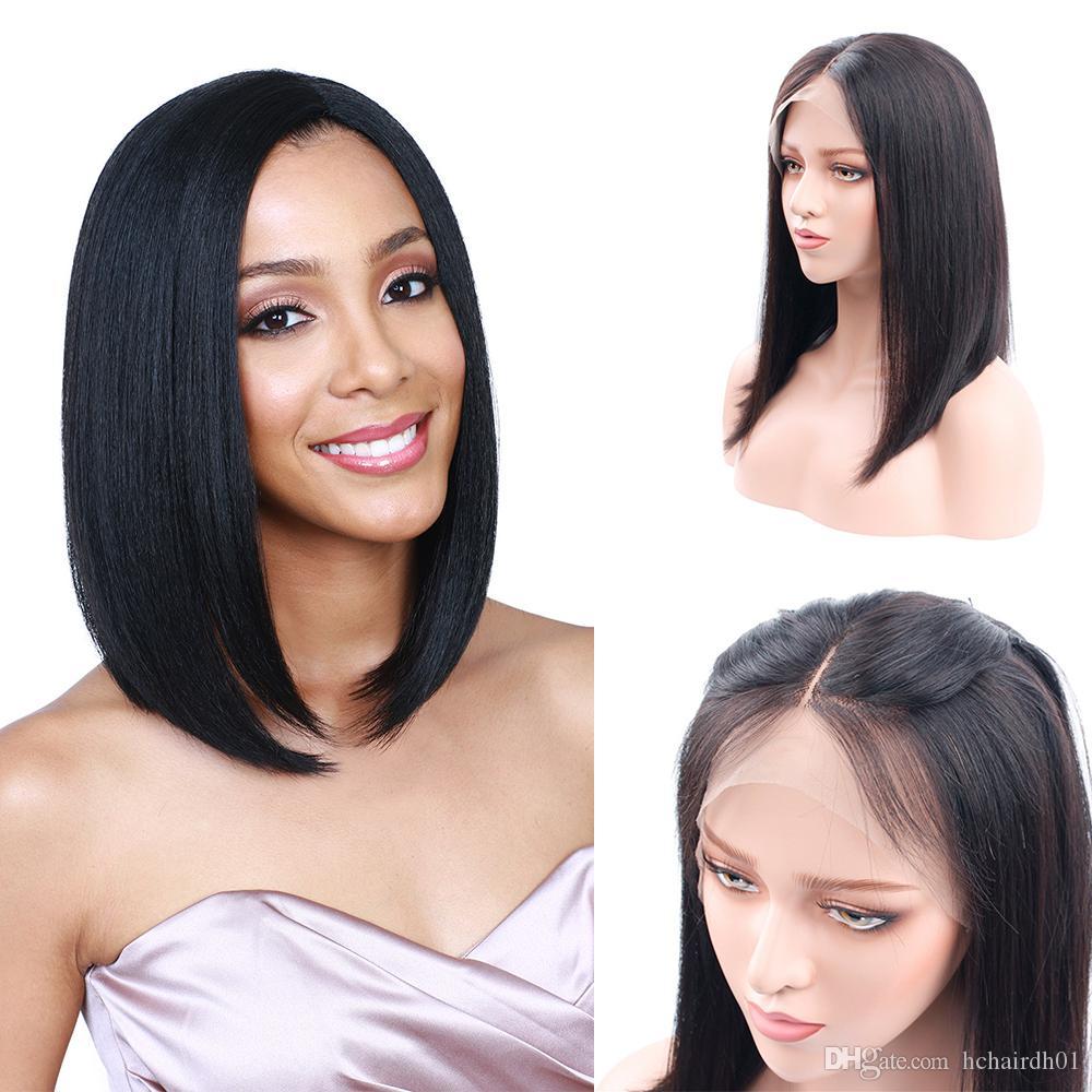 Kurze Bob Perücken Brasilianisches Reines Haar Gerade Lace Front Echthaar Perücken Für Schwarze Frauen Schweizer Spitze Frontal Perücke HC Haar