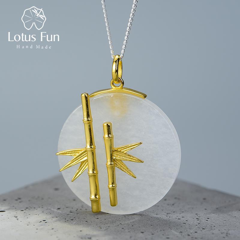 Лотос Fun Real стерлингового серебра 925 природных Креативный Handmade изящных ювелирных изделий Уникальный Свежее бамбука Подвеска без ожерелье