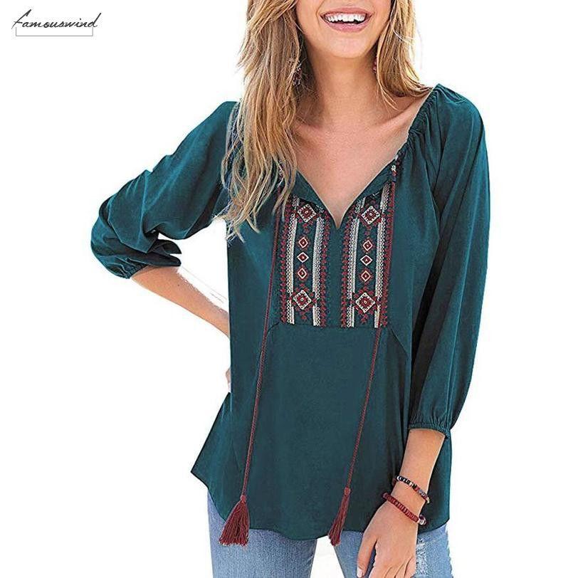 Yaz Vintage Boho Etnik Meksika Nakış Bluz Kadınlar Hippi Püskül Gevşek Tunik blusa Feminina Camisa Femenina Ed Tops