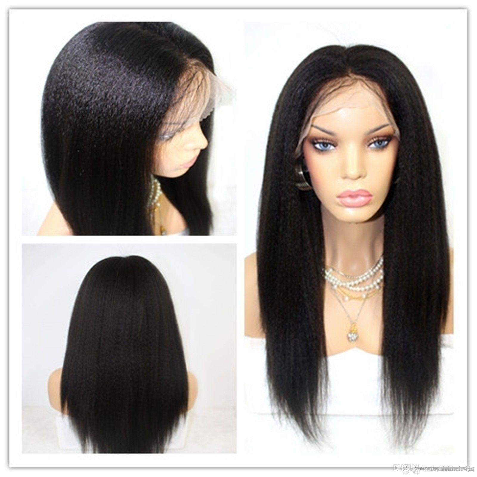 도매 150 % 밀도 가벼운 야키 변태 스트레이트 glueless 합성 레이스 프런트 가발 반바지 블랙 womenfull 레이스 가발에 대한 내성